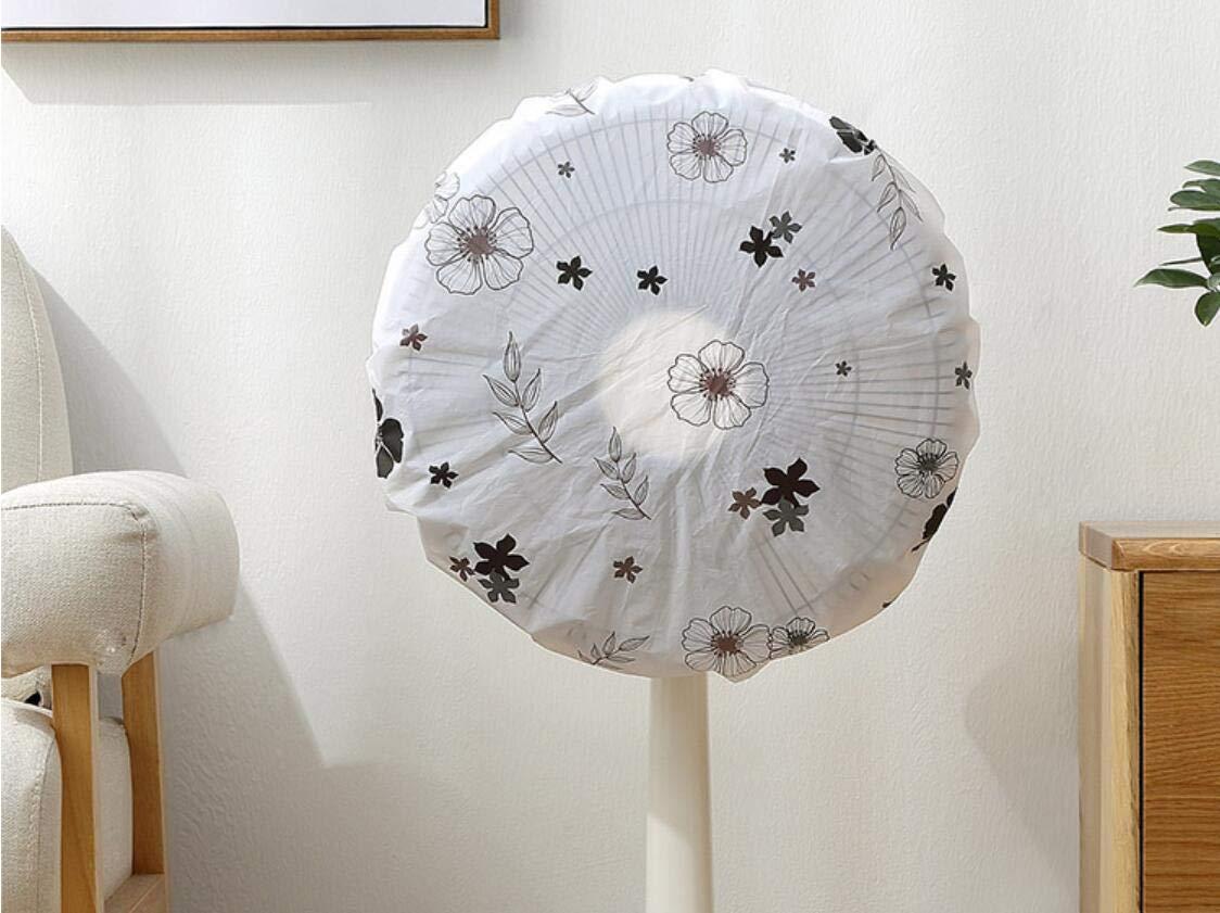 Sweetstore Household Mount Fan - Supreme Series,Semi-Transparent Printed Circular Floor Fan Cover (Black Flower, Small)