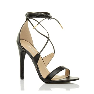 c3c3a7261be Womens ladies high heel barely there strappy lace tie up sandals shoes size  3 36