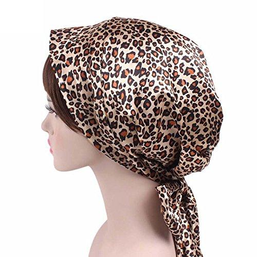 (Wcysin Satin Bow Headscarf Comfortable Sleeping Bonnet Curly Hair Wrap Womens Silk Head Scarf Head Wrap Cap (Leopard))