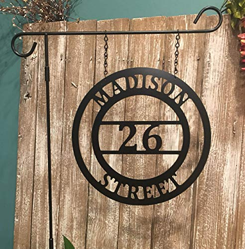 House Address Plaque with Street Name Custom Yard Sign Lamp Post Street Number Sign QUICK SHIPPING (Lamppost House Number)