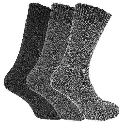 - Mens Wool Blend Fully Cushioned Thermal Boot Socks (Pack Of 3) (US 7-12, EUR 39-45) (Shades Of Grey)
