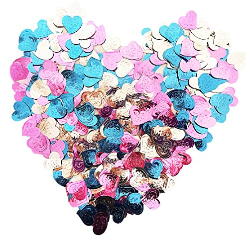 Blue Foil Heart - Metallic Foil Pink Silver and Sky Blue Heart Confetti (600+ piece)