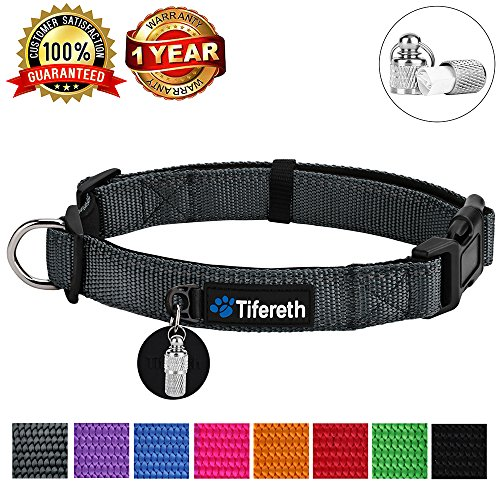 Tifereth Dog Collars Nylon Buckle Dog Collar Comfortable Dog Collar Padded and Light Weight 8 Colors Small Medium Large Sizes (Free Pet ID Tag) (Large, Grey)