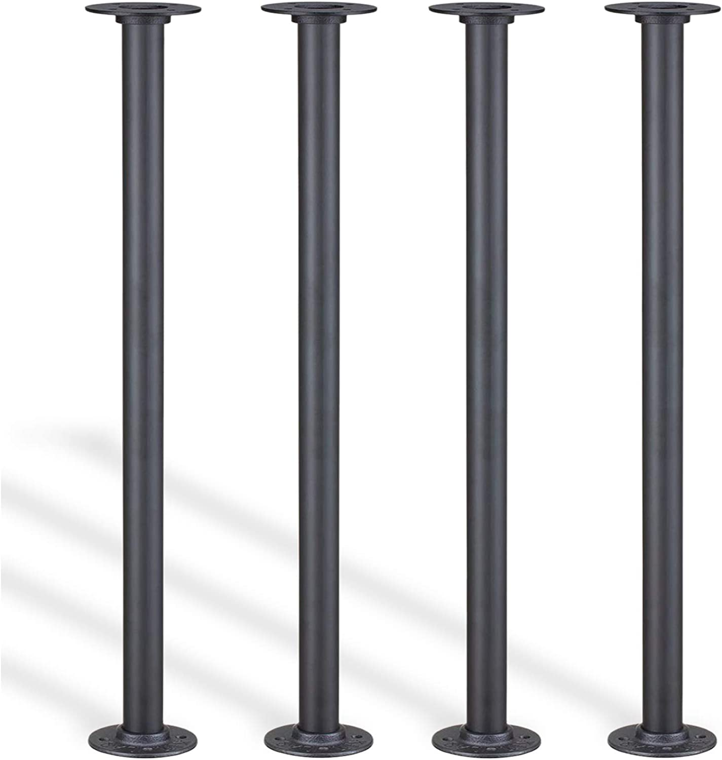 Hanone Pipe Table Legs 28″ Metal Desk Legs with Non-slip Mat DIY for Custom Vintage Industrial Loft Office Bench Table and Furniture Sturdy Shelf Support - Set of 4 (Black), Heavy Duty Max.200lbs/ Leg