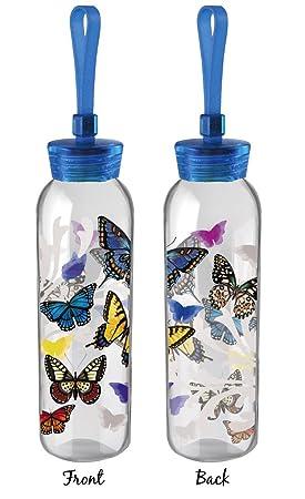 Cypress Home vuelo de las mariposas de doble cara para botella de agua de cristal,