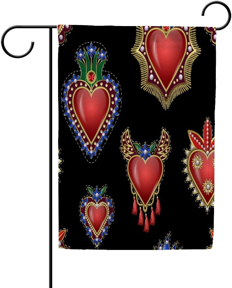 ZHIMI Pattern Traditional Mexican Hearts Garden Flag Vertical Double Sided Yard Flag Polyester Banner Holidays Outdoor Decoration