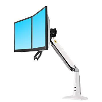 """NB North Bayou Ergonomics Interactive Dual Desk Monitor Mount Fits 22""""-27"""" Double Screens with Load 13.2 to 26.4 lbs(White)"""