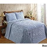 Better Trends Ashton 100-percent Cotton Chenille Super Soft and Plush Bedspread Blue Full