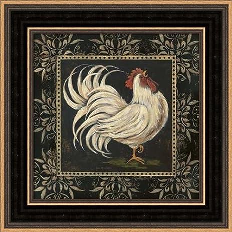 Amazon Black And White Rooster I Framed Art Print 8x8 Fine