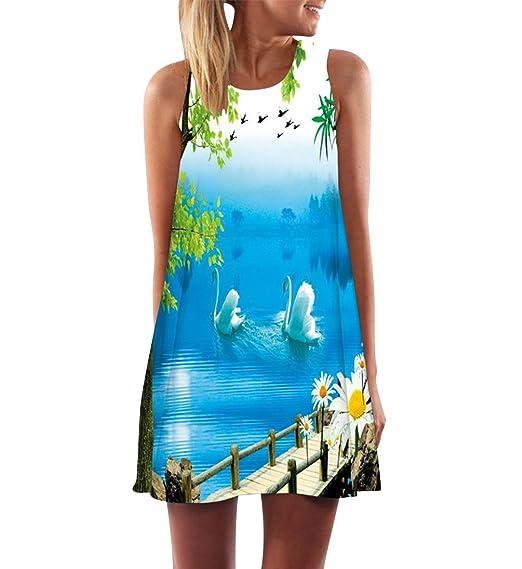 Vestidos de Verano Cortos Mujer Vestido de Diario Boho Estampados Flores Corto Rectos Casuales Mini Vestidos