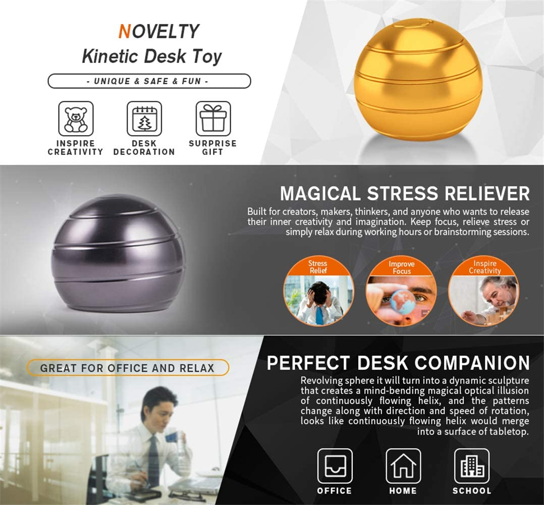 Desk Toys for Office Adults and Kids Novelty Metal Fidget Gadget with Optical Illusion Unique Ball Stress Reliever for Stress Relief Anti Anxiety Increase Focus Inspire Blue Lucoo Kinetic Desk Toy