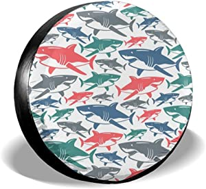 Foruidea Mix of Colorful Bull Shark Family Spare Tire Cover Waterproof Dust-Proof UV Sun Wheel Tire Cover Fit for Jeep,Trailer, RV, SUV and Many Vehicle (14, 15, 16, 17 Inch)