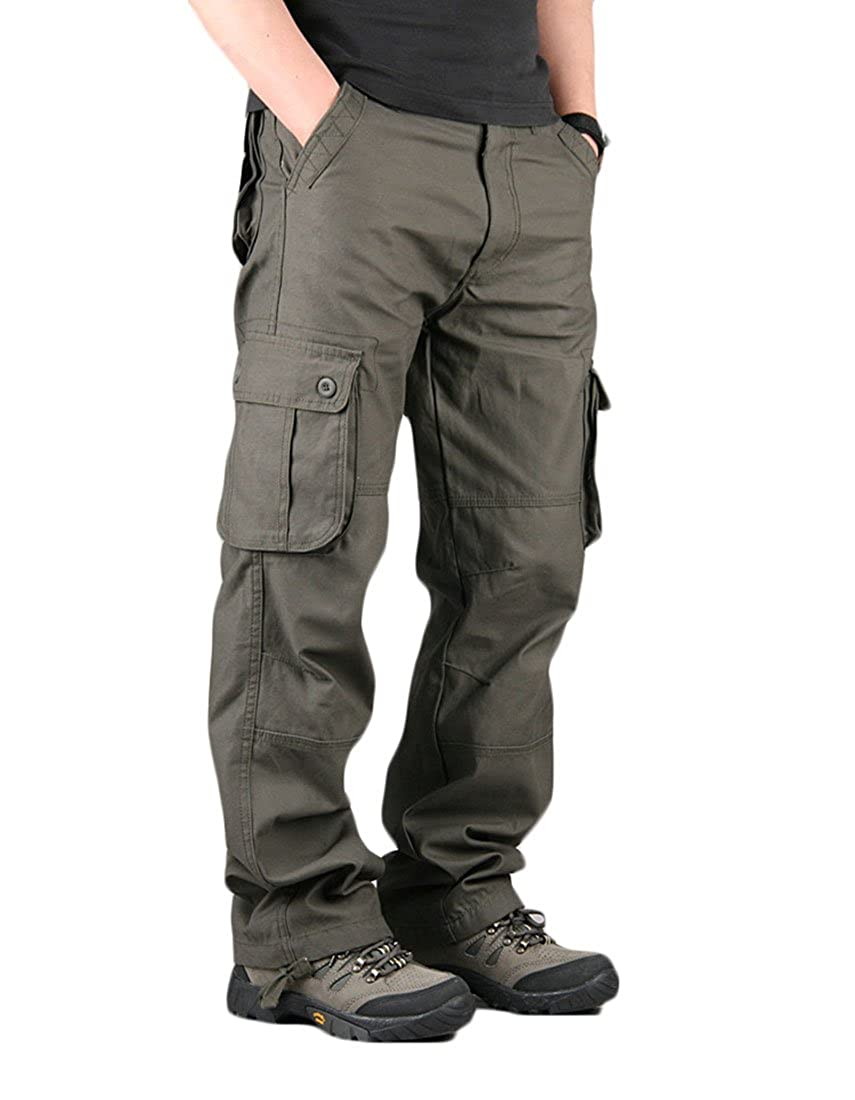 X-Future Mens Multicolor Outdoor Military Multi-Pocket Loose Work Cargo Pants Without Belt