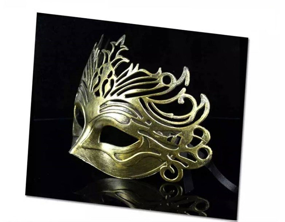 Face mask Shield Veil Guard Screen Domino False Front Ball Party mask Rustic mask Dance mask Man's mask Ancient Rome Fighter Crown mask Gold by PromMask (Image #2)