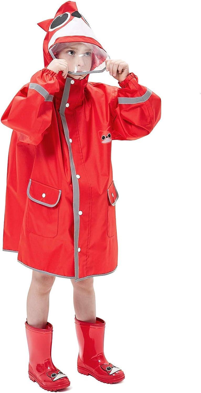 LIVACASA Kids Raincoats Boys Girls with Hooded Transparent Hat Brim Breathable Rainsuit Reflective Stripes Kids Puddle Suits with Pocket Cute Pattern Rain Poncho Waterproof Rainwear