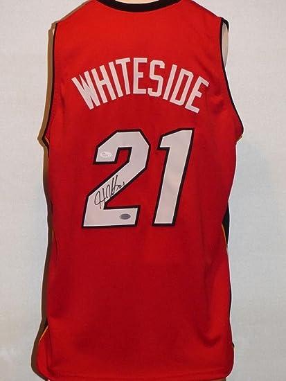 8b892fe2770 Autographed Hassan Whiteside Jersey - Custom Red - JSA Certified - Autographed  NBA Jerseys