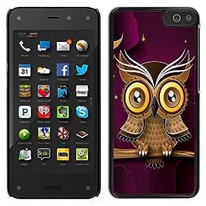 LECELL--Funda protectora / Cubierta / Piel For Amazon Fire Phone -- Búho púrpura elegante diseño moderno y minimalista --