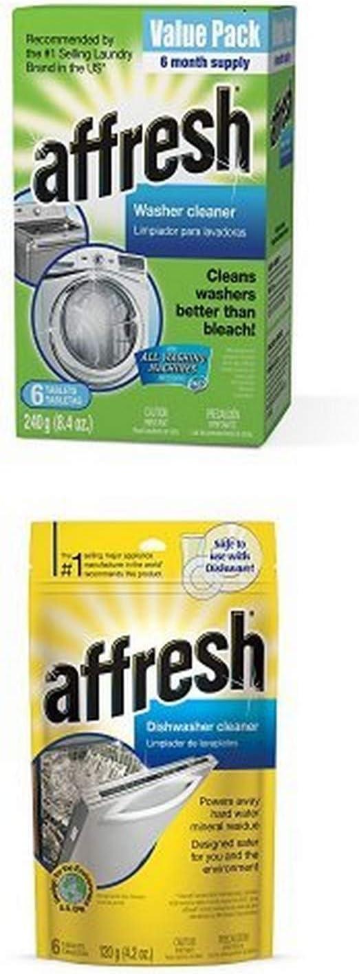 Affresh Washer Machine Cleaner, 6-Tablets, 8.4 oz Plus Affresh W10282479 Dishwasher Cleaner, 6 Tablets