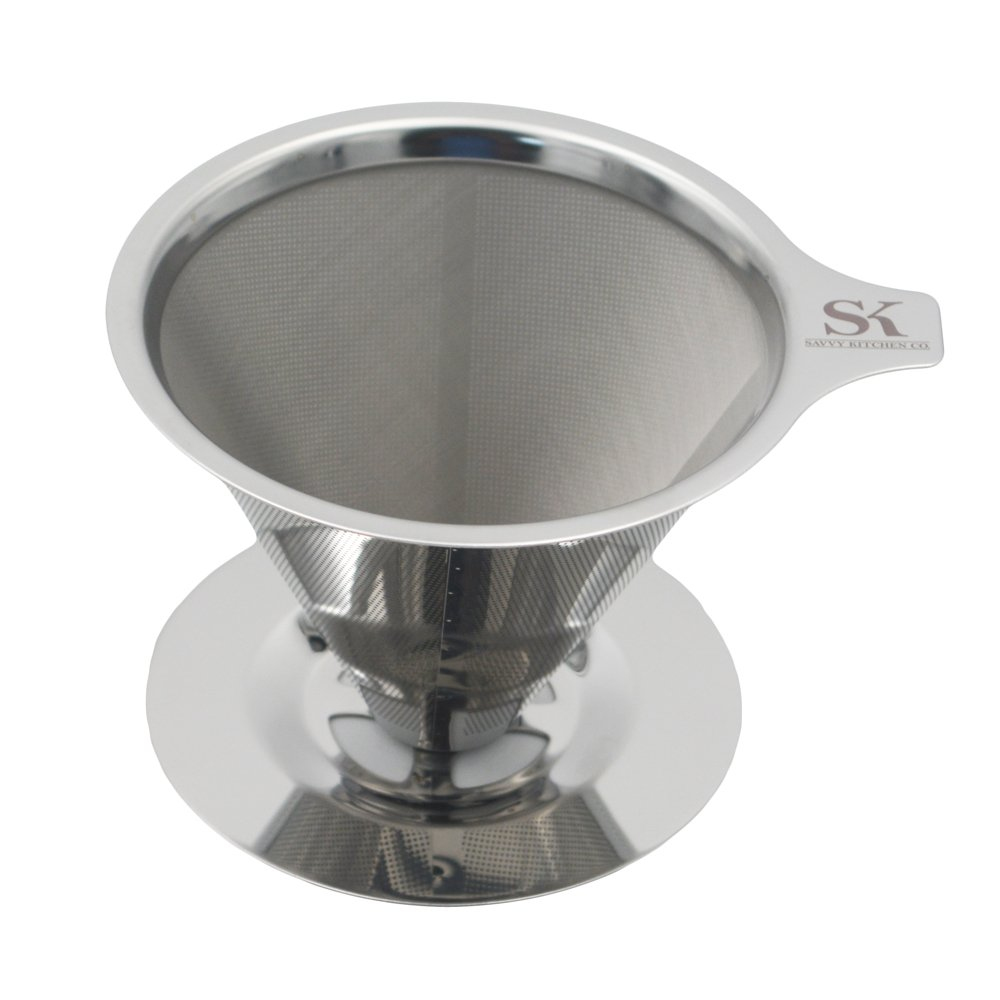 Pour Over Coffee Dripper - Eco-Friendly Durable Stainless Steel with Ultra Mesh Filter Cone - Brew Fresh, Fuller Flavoured Coffee like a Professional - 2-4 Cup Serving - Dishwasher Safe   B06XHLH58G