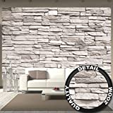 White stonewall wall paper - Mural - Stone wall decor by Great Art 132.3 Inch x 93.7 Inch