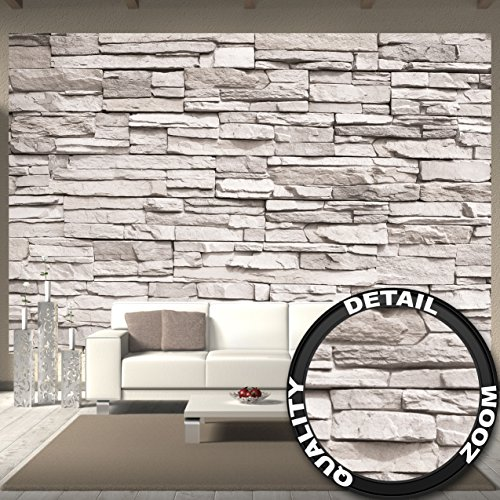 Wallpaper White Stonewall – wall picture decoration Stone wallpaper 3D Stone Wall White stone optic Stone wall Rock wall I paperhanging poster wall decor by GREAT ART (132.3 x 93.7 Inch)
