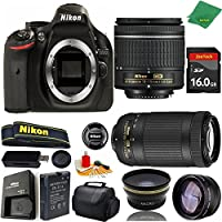 Great Value Bundle for D5200 DSLR – 18-55mm AF-P + 70-300mm AF-P + 16GB Memory + Wide Angle + Telephoto Lens + Case