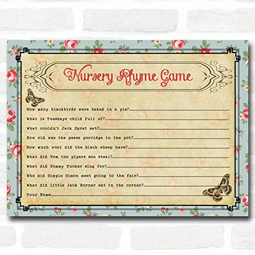 Shabby Chic Tea Party Baby Shower Games Nursery Rhyme Quiz Cards ()