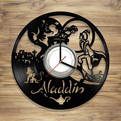 Aladdin Vinyl Wall Clock Princess Jasmine Lamp Genie Jafar Disney Perfect Art Decorate Home Style UNIQUE GIFT idea for Him Her (12 inches)