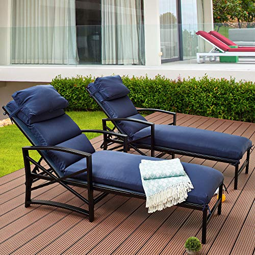 Top Space Patio Chaise Lounge Outdoor Adjustable Back Chair Cushioned Chairs with Blue Pillow All Weather Steel Frame Lounger(2Pcs)