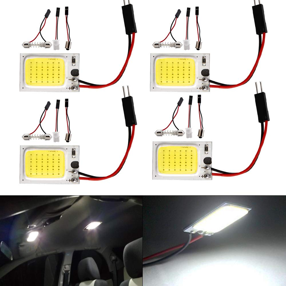 Everbright 4-Pack Super White COB 18-SMD LED Panel Dome Lamp Auto Car Interior Reading Plate Light Roof Ceiling Interior Wired Lamp With 4× BA9S Adapter, T10 Adapter, Festoon Adapter (DC-12V) YM E-Bright Panel-COB-white -18/21/24/36/48