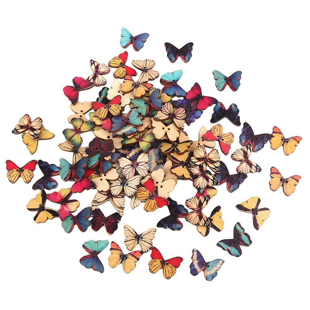 Wuudi 50pz farfalla bottoni in legno retro design decorativi da appendere DIY abbigliamento cucito accessori artigianato in legno colore casuale