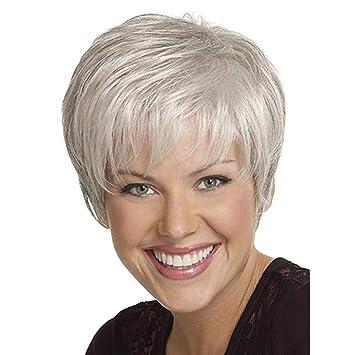 Amazon Com Sgyhair Old Women Sliver Short Oblique Part Hair Curly