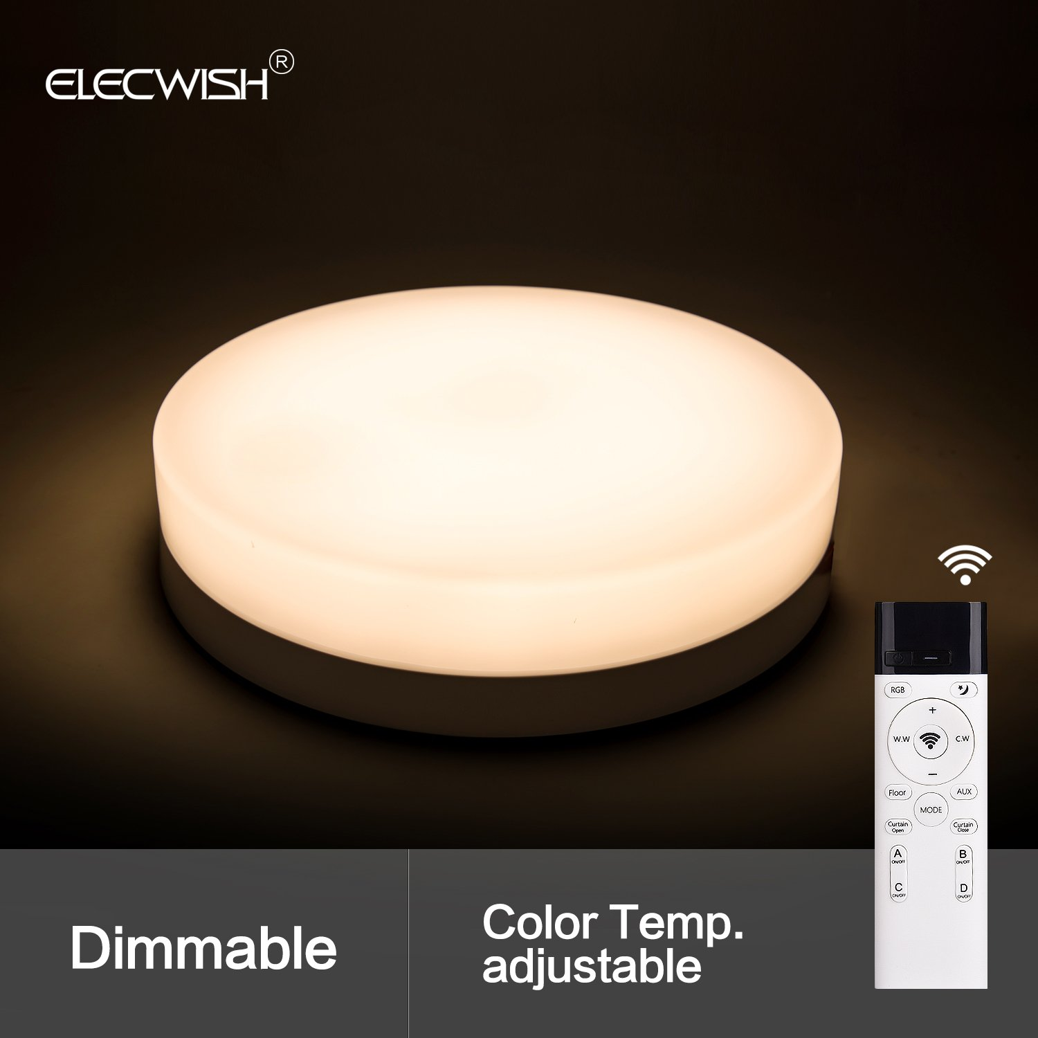 Elecwish 12 Smart Led Ceiling Light Flush Mount Wireless Remote 110v 220v Dimmer Circuit With Active Reset Control Fixture Stepless Dimming Acrylic Cover 29closed