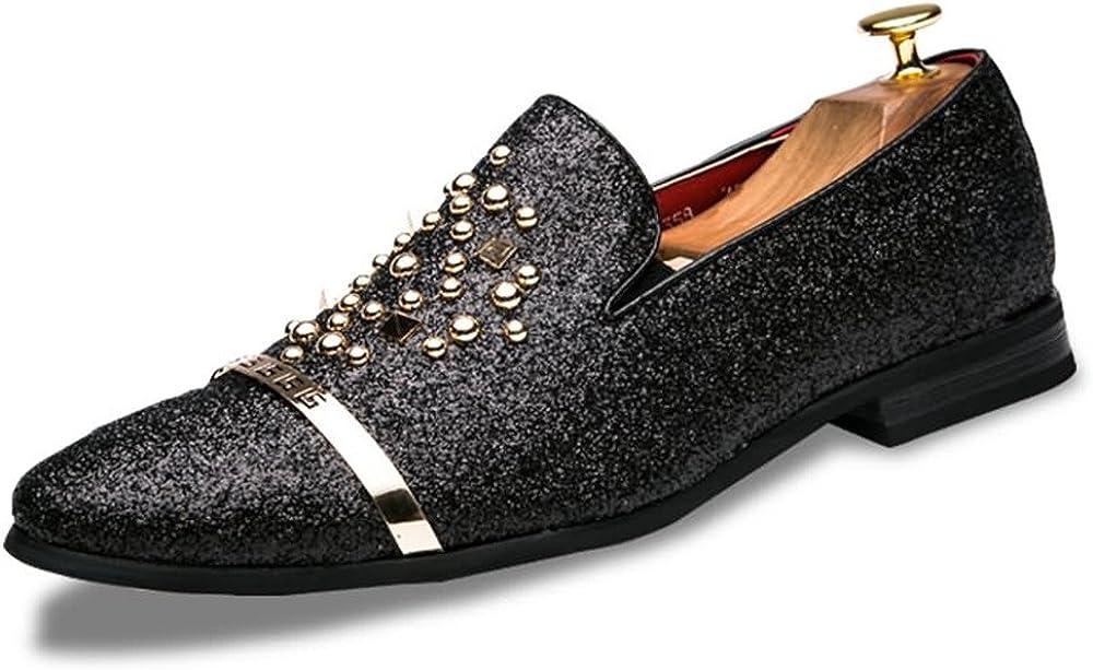 Z.L.F Mens British Fashion Oxford Shoes Sparkling Rivet Slip On Casual Fashion Shoes