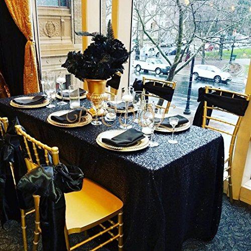 B-COOL Popular Black Sequin tablecloth On sale! Sequin Shimmer Tablecloth 50
