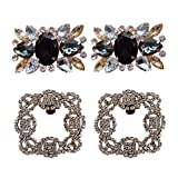 Polkar 2 Pairs Elegant Rhinestone Crystal Metal Shoe Clips Shoe Buckle for Wedding Party Decoration (Color A)