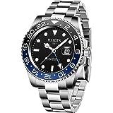 Reloj de pulsera mecánico, GMT, para hombre, de acero inoxidable, diseño clásico, movimiento japonés, incluye bisel…
