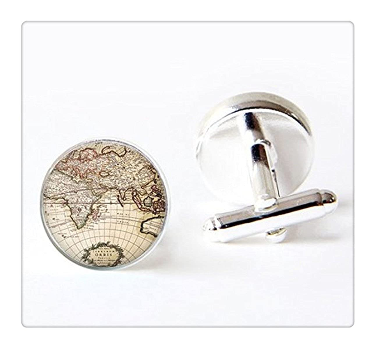 carte du monde Globe carte de la Terre du globe monde Voyage Adventurer Carte du monde Globe boutons de manchette Art manchette