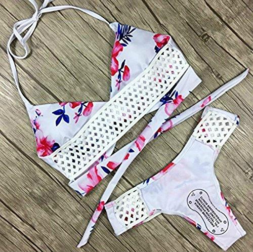a4c53afda0f Women Halter Floral Print Bikini Swimsuit Criss Cross Push Up Floral Leaf  Two Piece Swimsuit Bathing