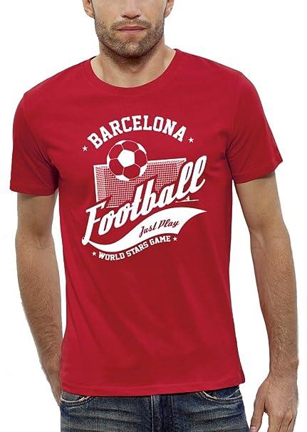 PIXEL EVOLUTION Camiseta 3D Futbol Barcelona de Realidad Aumentada Hombre - Talla S - Rojo