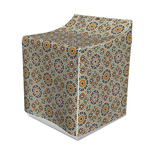 Lunarable Arabian Washer Cover, Blooming Flowers in Traditional Abstract Style Marrakech Mosaic Petals Antique Tile, Dust and Dirt Free Decorative Print, 29
