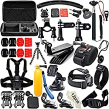 50 in 1 Accessory Kit for GoPro 4/3+/3/2/1 SJ4000/5000/6000 Xiaomi Yi;Kit includes:Suction cup+Floaty bobber with strap and screw+Rotation Clip & Screw +Insurance Tether Straps+Wrist Strap+Handheld Monopod Pole+Bicycle Handlebar/Seatpost Clamp with Three-way Adjustable Pivot Arm+Chest Harness Mount+Headstrap Mount +Plastic Wrench Spanner to Tighten or Loose Knob Nut Screw+Rotation, Wrist Mount with screw+Tripod Mount Adapter+Carring Case And More