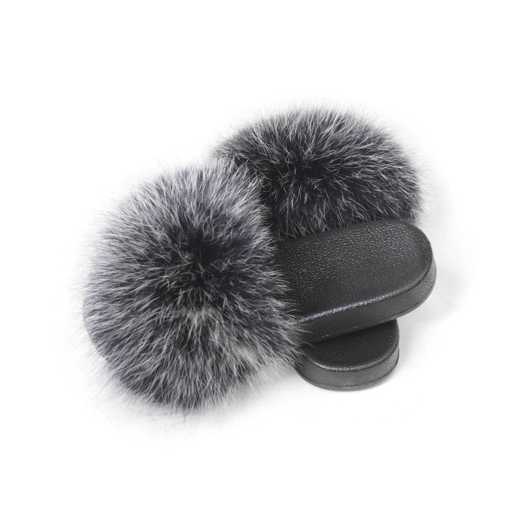 Silvery Black Women's Fur Slipper Outdoor Soft Flat Slide Sandels Real Fox Fur Fur Story 18S01