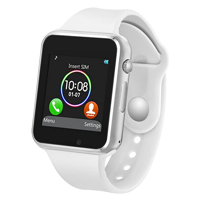 PLYSIN Smart Watch Bluetooth Smartwatch with Camera Music Player for IOS iPhone, Android Samsung HTC Sony LG Huawei Smartphones (White)