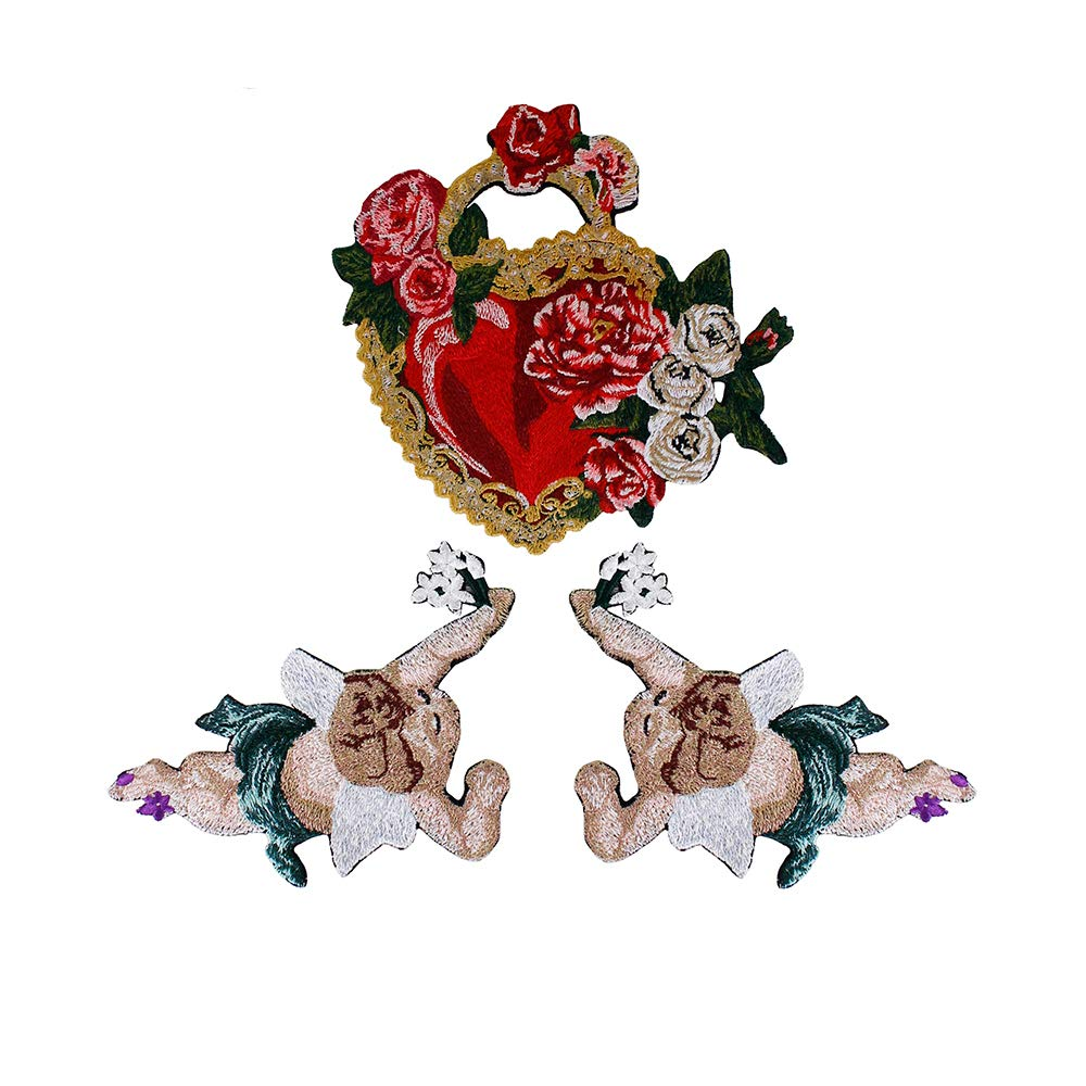 EMDOMO1set Fashion Heart Embroidery Flower Applique Angel Fabric Patches for Brand Clothes Badge Scrapbooking Sewing Accessories TH1297