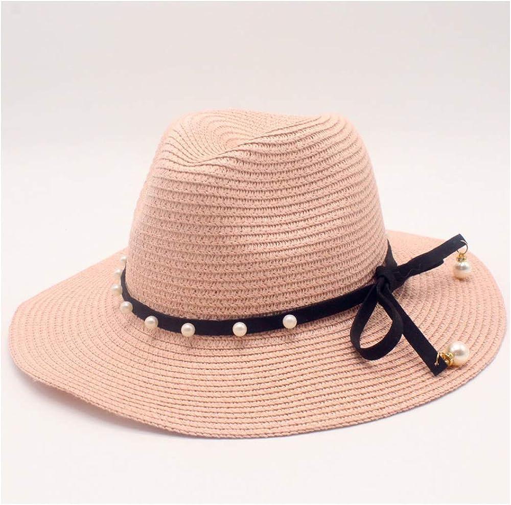 YUXUJ Sun Hats Outdoor Fashion Women Straw Baseball Cap Leather with Pearl Bow Straw Casual Cap