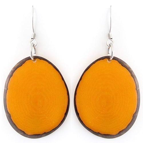 Chips Tagua Earrings Orange