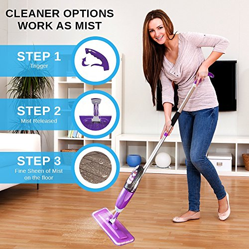 Vorfreude – Floor Mop with Integrated Spray and – Included Refillable 700Ml Capacity Bottle and Reusable Microfibre Pad - 5
