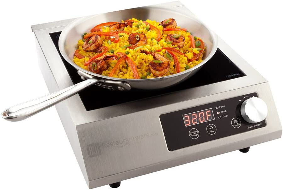 Professional Portable Induction Cooktop RWT0093 - 1800W (120V) Countertop Induction Cooker with Digital Temperature Display - Perfect for Restaurants and Catering Events - Restaurantware