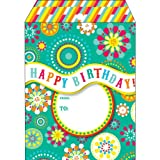 Jillson Roberts 6-CountTyvek Decorative Padded Mailing Envelopes Available in 8 Designs and 2 Sizes, Medium, Party Wave Birthday